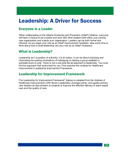 Leadership: A Driver for Success - Toward Optimized Practice (TOP)