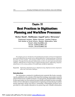 Best Practices in Digitisation: Planning and Workflow Processes