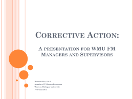 Corrective Action: A Presentation for WMU FM Managers and