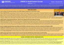 UNODC in the region of South Eastern Europe Newsletter No. 8