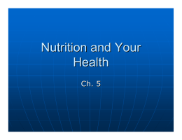 Nutrition and Your Health - School District of Rhinelander