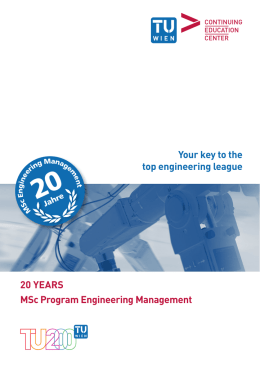 "Booklet ""20 Years MSc Program Engineering Management"""