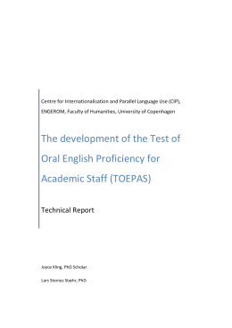 The development of the Test of Oral English Proficiency