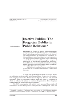 Inactive Publics: The Forgotten Publics in Public Relations (PDF