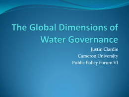 The Global Dimensions of Water Governance
