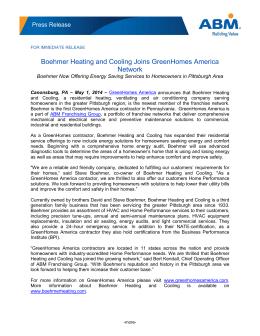 Boehmer Heating and Cooling Joins GreenHomes America Network