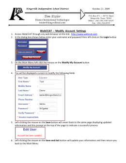 Tim Etzler WebCCAT - Modify Account Settings