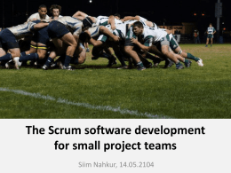 The Scrum software development for small project