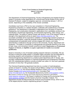 Tenure-Track Position in Chemical Engineering Queen`s University