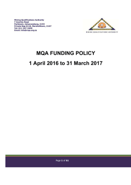 MQA Funding Policy 01 April 2016 - Mining Qualifications Authority