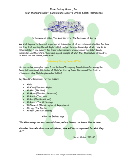 THM Sadaqa Group, Inc. Your Standard Salafi Curriculum