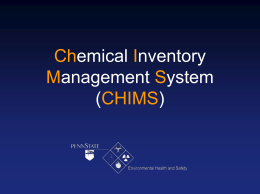 CHIMS - Penn State University Environmental Health and Safety