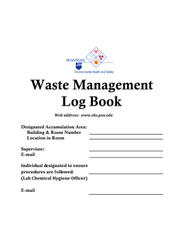 Waste Management Log Book - Penn State University