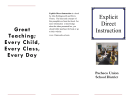 Explicit Direct Instruction - Pacheco Union School District