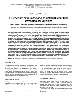 Puerperium experience and adjustment identified psychological