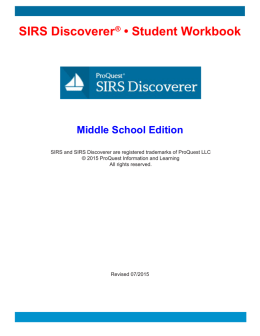 SIRS Discoverer ® • Student Workbook