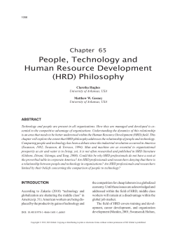 People, Technology and Human Resource Development (HRD
