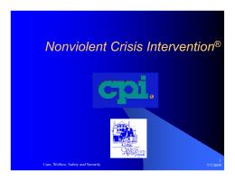 Nonviolent Crisis Intervention - West Virginia Department of Health