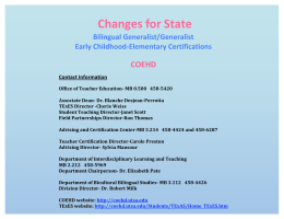*State Certification Changes