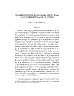 Susan Lorde Martin, Kill the Monster: Promissory Estoppel as an