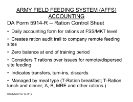 ARMY FIELD FEEDING SYSTEM (AFFS) ACCOUNTING DA Form