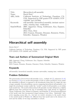 Hierarchical self-assembly - Computer Science @ UC Davis