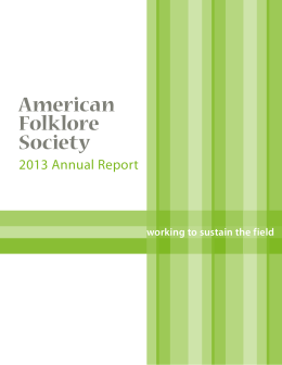2013 Annual Report - American Folklore Society