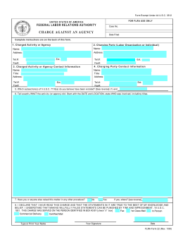 FLRA Form 22 - Charge Against an Agency - Rev. 1/99