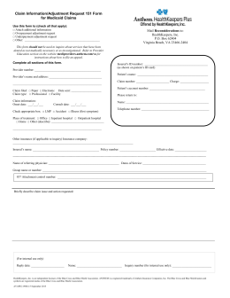 Claim Information/Adjustment Request 151 Form for Medicaid Claims