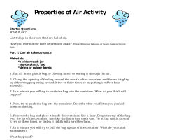 Properties of Air Activity