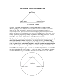 The Rhetorical Triangle or Aristotelian Triad The Rhetorical Triangle