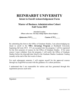 REINHARDT UNIVERSITY Intent to Enroll Acknowledgement Form