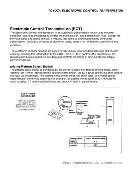 Electronic Control Transmission (ECT)