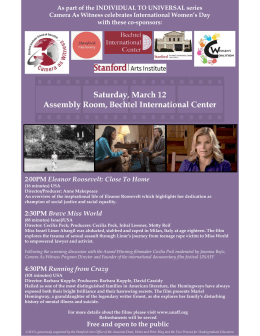 Saturday, March 12 Assembly Room, Bechtel International Center