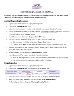 Schedule Classes in Your myWCU