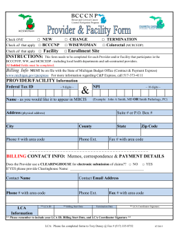Provider and Facility Form - Michigan Cancer Consortium