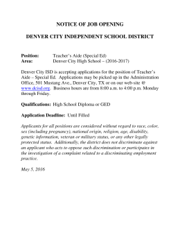 notice of job opening denver city independent school district