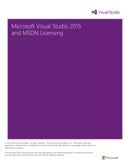 Microsoft Visual Studio 2015 and MSDN Licensing