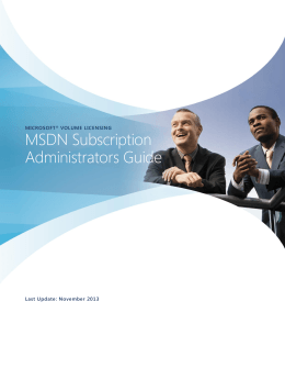 MICROSOFT VOLUME LICENSING MSDN Subscription