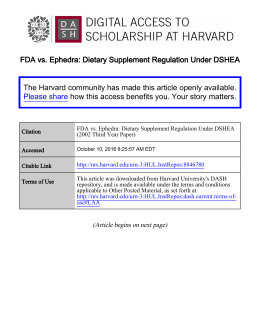 FDA vs. Ephedra: Dietary Supplement Regulation Under DSHEA