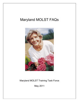 Draft Maryland MOLST FAQs