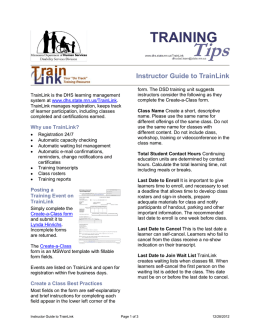 Instructor Guide to TrainLink Information Sheet