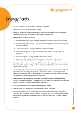 Educational Resource: Energy Facts