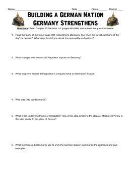 Building a German Nation - Germany Strengthens