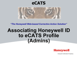 Associating Honeywell ID to eCATS Profile (Admins)