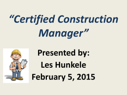 Certified Construction Manager