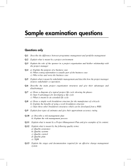 Sample examination questions