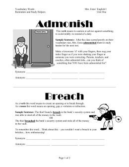 Admonish Breach - Demo Class Blog