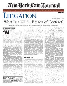 Litigation: What is a Willful Breach of Contract?