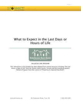 What to Expect in the Last Days or Hours of Life